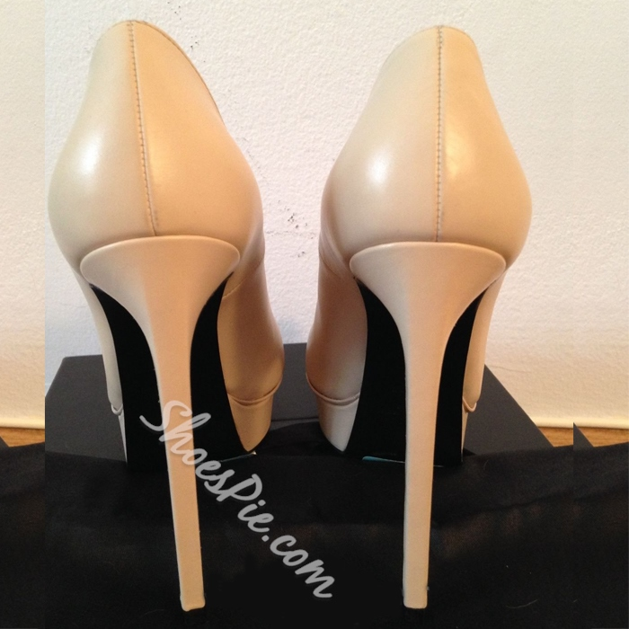 Shoespie Genuine Pointed-toe Platform Heels