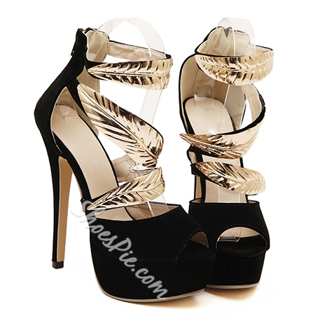 Shoespie Metal Leaves Decorated Dress Sandals
