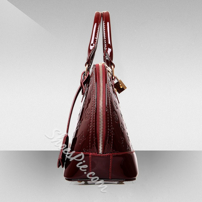 Shoespie Patent Leather Tote / Crossbody Handbag