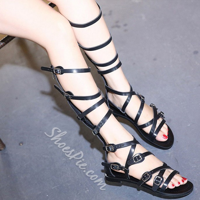 Shoespie Buckle Decorated Wrap Flat Gladiator Sandals