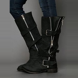 Shoespie Retro Side Zipper Buckle Flat Boots