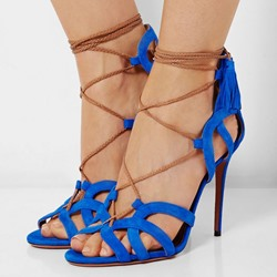 Shoespie Assorted Ankle Wrap Suede Dress Sandals