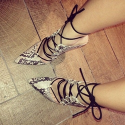 Shoespie Snakeskin Lace up Pointed-toe Stiletto Heels