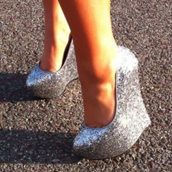 Shoespie Glitter Silver Wedge Heels