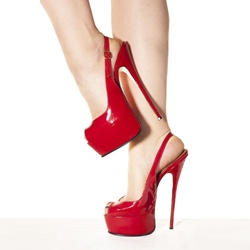 Shoespie Red Patent Leather Plus Size Peep-toe Heels