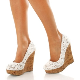 Shoespie Lace Wedge Heels