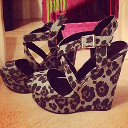 Shoespie Suede Leopard Wedge Sandals