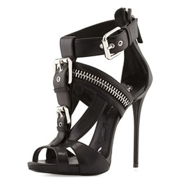 Shoespie Solid Color Zipper Buckle Stiletto Sandals