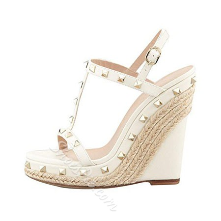 Shoespie Solid Color Rivet Wedge Sandals