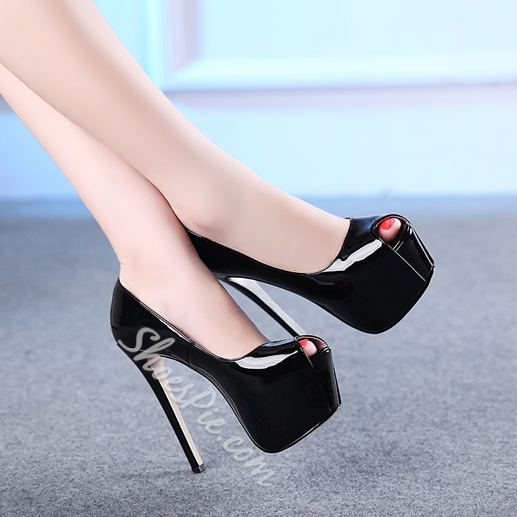 Shoespie Patent Leather High Platform Peep-toe Heels