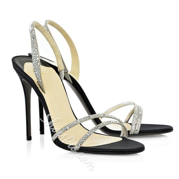 Shoespie Rhinestone Decorated Stiletto Sandals