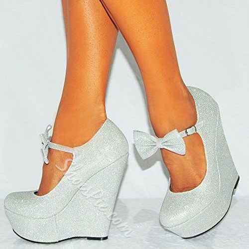 Shoespie Bowtie Glitter Round-toe Wedge Heels