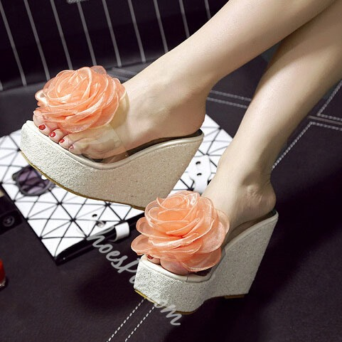 Shoespie Silk Flower Sequined Wedge Slippers