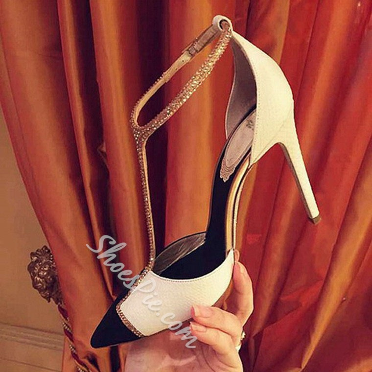 Shoespie Rhinestone Beading Point Toe T-strap Stiletto Sandals