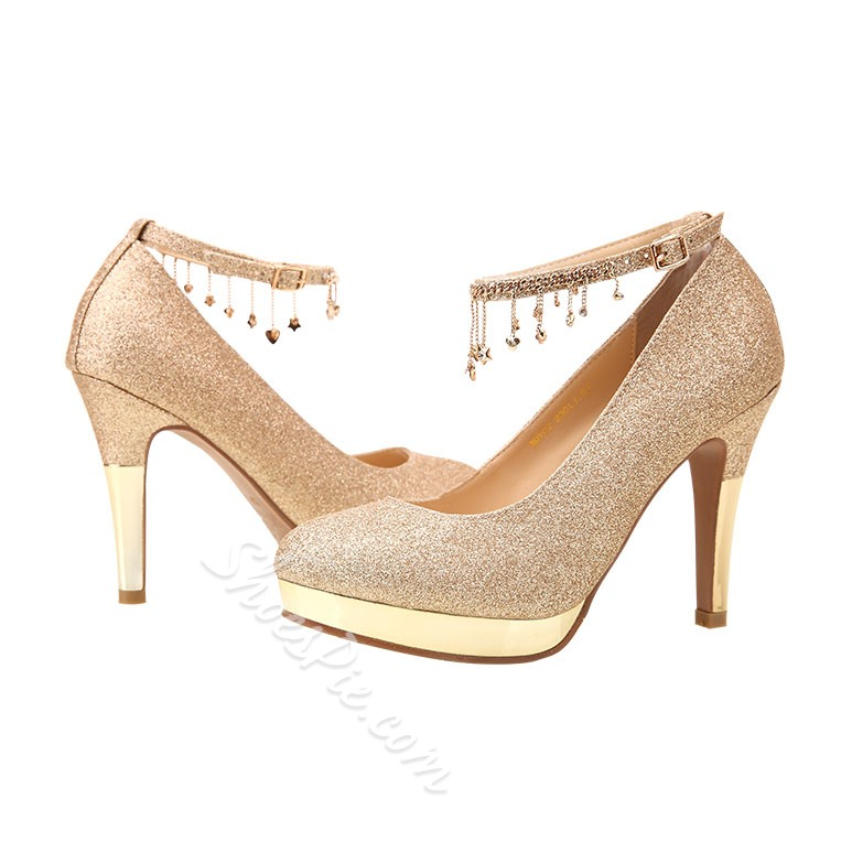 Shoespie Glitter Tassels Bridal Shoes