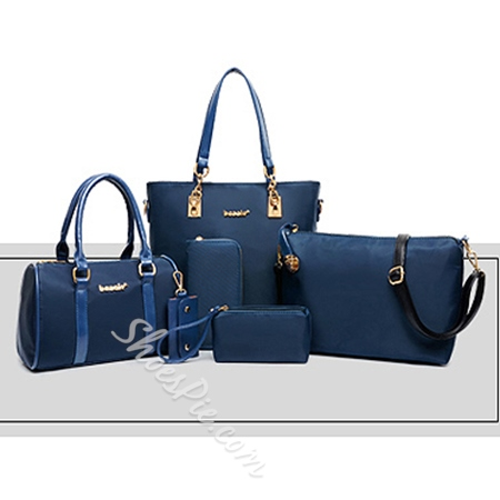 Shoespie Solid Color 6 Pieces Women Tote Bag Set