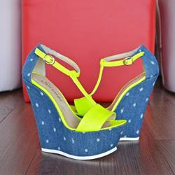 Shoespie Assorted Color T-strap Wedge Sandals