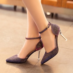 Shoespie Glitter Ankle Wrap Low Heels