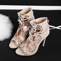 Shoespie Cut-out Lace-up Wrap Stiletto Sandals
