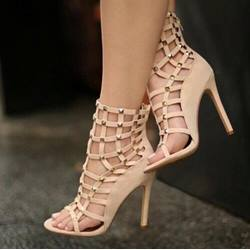 Shoespie Cut-out Rivet Zipper Dress Gladiator Sandals