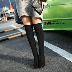 Shoespie Suede Chunky Heels Over Knee High Boots