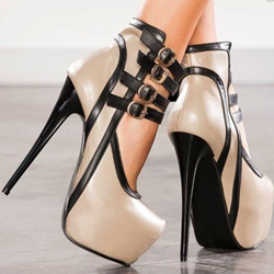 Shoespie Genuine Leather Ankle Wrap Buckle Platform Heels