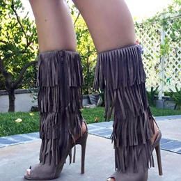 Shoespie Tassels Peep-toe Mid-Calf High Heels Boots