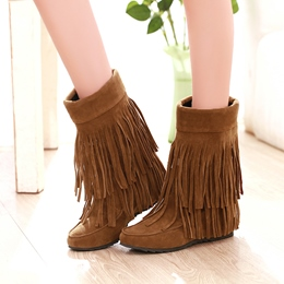 Shoespie Tassels Low Heel Boots
