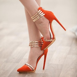 Shoespie Orange Suede Zipper Metal Ankle Wrap Stiletto Heels