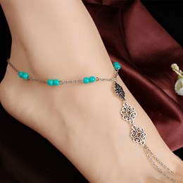 Shoespie Beading Thong Anklet