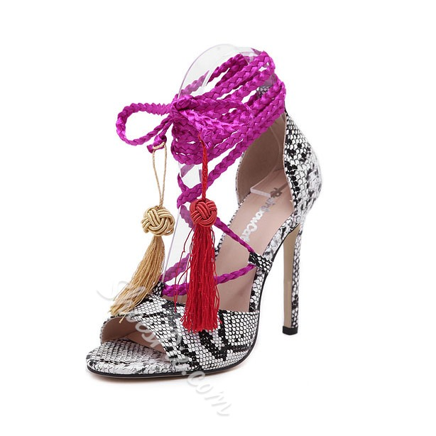 Shoespie Snakeskin Tassel Stiletto Sandals