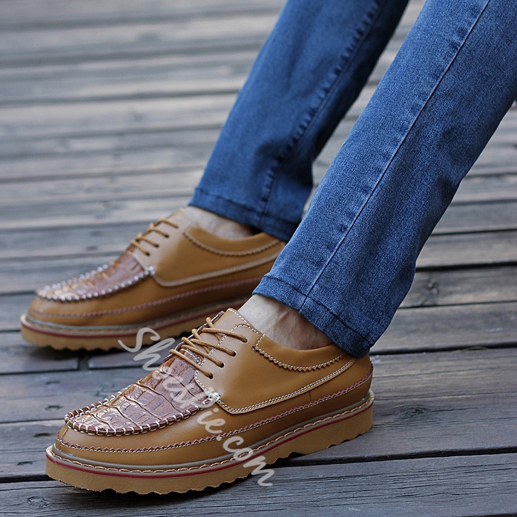 Solid Color Embossed Lace-Up Flat Oxfords
