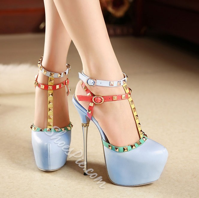 Shoespie Rivet Stiletto Platform Sandals
