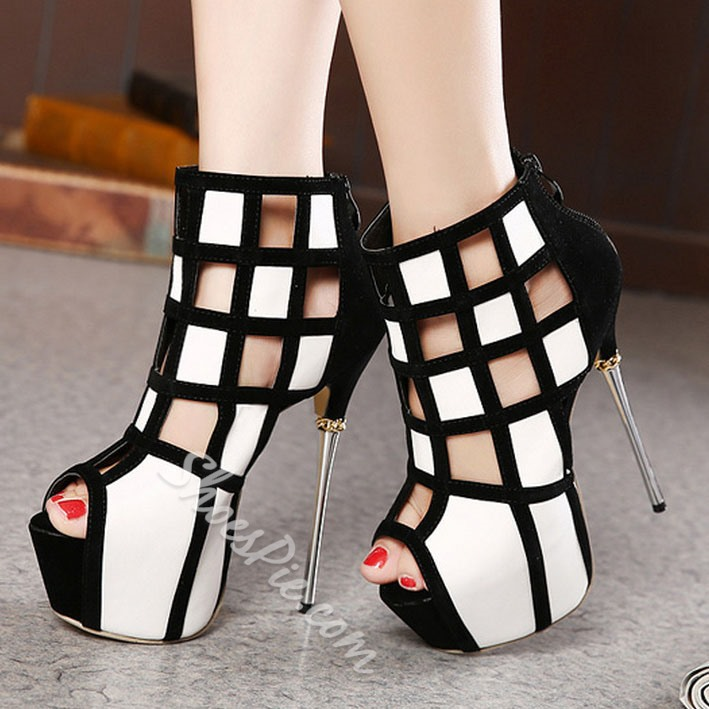 Shoespie Cut-outs Zipper Peep-toe Heels