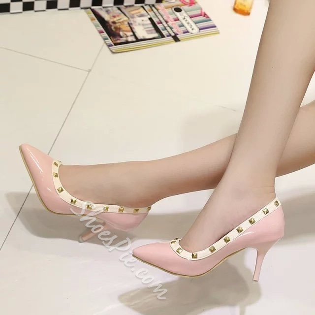 Shoespie Rivets Pointed-toe Low Heels