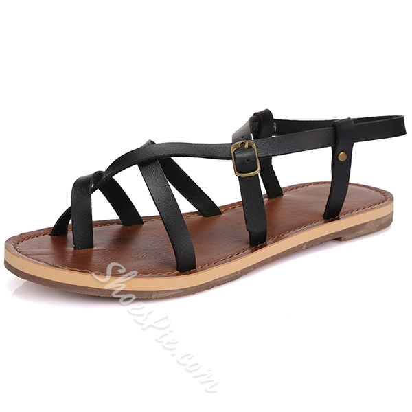 Shoespie Toe Ring Buckle Decorated Flat Gladiator Sandals