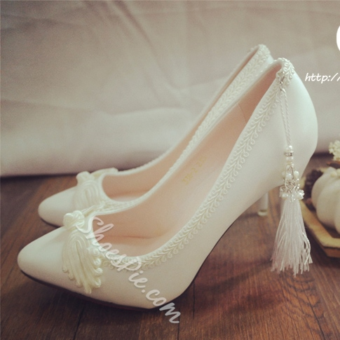 Shoespie Tassels Pointed-toe Bridal Shoes