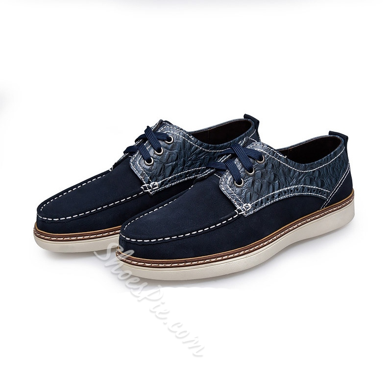 Solid Color Embossed Patchwork Loafers