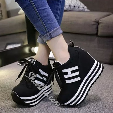 Shoespie Platform Stripes Sneaker