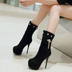 Shoespie Nubuck Jewelled Sky High Mid Calf Boots