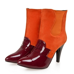 Shoespie Contrast Colors Zipper Ankle Boots