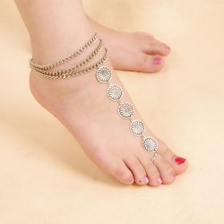 Shoespie Metal Round Circle Thong Anklet