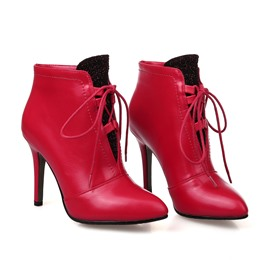Shoespie Lace-up Pointed-toe Ankle Wrap