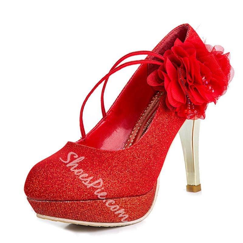 Shoespie Red Glitter Flower Bridal Shoes