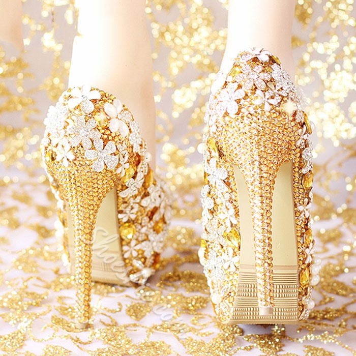 Shoespie Golden Rhinestone Flower Bridal Shoes