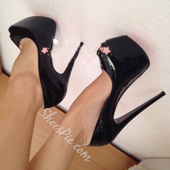Shoespie Black Genuine Leather Peep-toe Heels