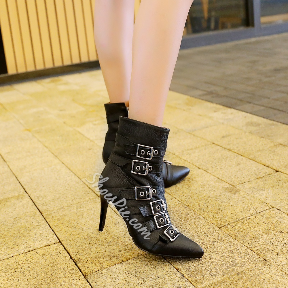 Shoespie Chic Buckles Zipper Stiletto Heel Ankle Boots