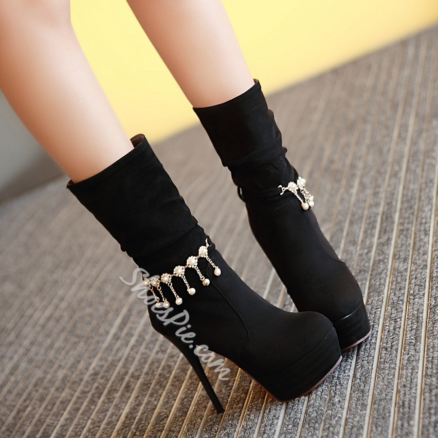 Shoespie Suede Like Sky High Beaded Mid Calf Boots