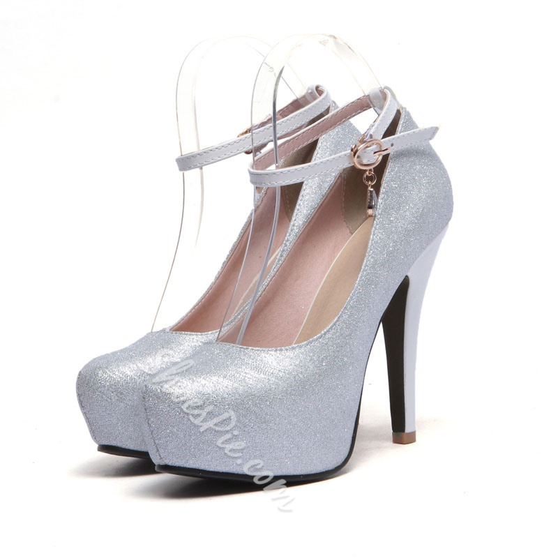 Shoespie Ankle Wrap Round-toe Platform Heels