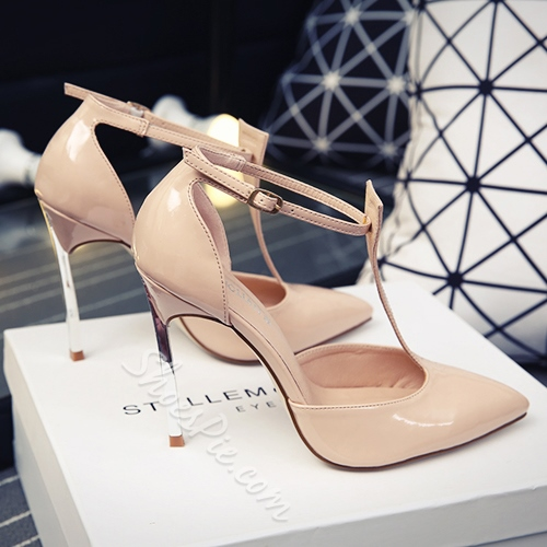 Shoespie Genuine Leather T-Wrap Stiletto Heels